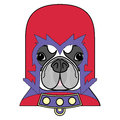 Comic Villain symbol in costume with cape, mask in red,yellow, blue and purple as a French bulldog character