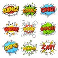 Comic words. Cartoon speech bubble with zap pow wtf boom text. Comics pop art balloons vector set Royalty Free Stock Photo