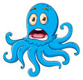 Comical octopus on white illustration of an a background Royalty Free Stock Images