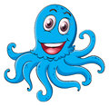 Comical octopus on white illustration of an a background Royalty Free Stock Photos