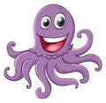 Comical octopus on white illustration of an a background Stock Photo