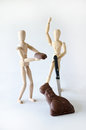 Comical photos shows creative pair teaming together to capture prize chocolate ears off chocolate easter bunny Stock Images