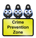 Comical uk crime prevention zone sign isolated white background Royalty Free Stock Photo