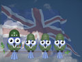 Comical uk soldiers bird general and sat on a tree branch against a cloudy blue sky Royalty Free Stock Image