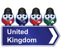 Comical united kingdom sign isolated white background Stock Images