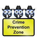 Comical usa crime prevention zone sign isolated white background Royalty Free Stock Photography