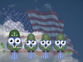 Comical usa soldiers bird general and sat on a tree branch against a cloudy blue sky Stock Images
