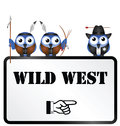 Comical wild west sign isolated on white background Royalty Free Stock Photos