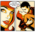 Comics love story retro in strip Stock Images