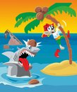 Comics mouse pirate escapes from shark. Vector flat illustration Royalty Free Stock Photo