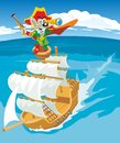 Comics mouse pirate sails on a sailboat. Vector flat Royalty Free Stock Photo