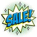 Comics style sale tag. Blue sale web banner. Pop art comic sale discount promotion banner. Big sale background