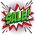 Comics style sale tag. Green sale web banner. Pop art comic sale discount promotion banner. Big sale background