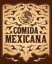 Comida mexicana mexican food spanish text vintage restaurant menu design old western style Stock Images