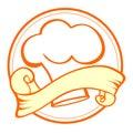 Comida y cocinero emblem Fotografía de archivo libre de regalías