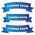 Coming Soon blue ribbon Royalty Free Stock Photo