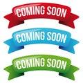 Coming Soon ribbon set Royalty Free Stock Photo