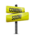 Coming soon road sign illustration design over a white background Royalty Free Stock Photography