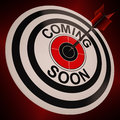 Coming soon shows campaign notification announcement target of product arriving Royalty Free Stock Image