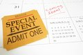 Coming soon special event ticket stub on a calendar with text Stock Photo