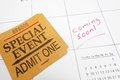 Coming soon ticket special event stub on a calendar with text Royalty Free Stock Image