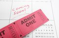Coming soon ticket stubs and calendar with text Royalty Free Stock Photos
