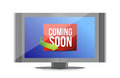 Coming soon on tv screen illustration design over white Royalty Free Stock Image