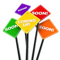 Coming up soon or concept road signs over white background concept of under construction Stock Photos