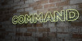 COMMAND - Glowing Neon Sign on stonework wall - 3D rendered royalty free stock illustration