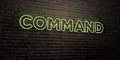 COMMAND -Realistic Neon Sign on Brick Wall background - 3D rendered royalty free stock image