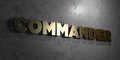 Commander - Gold text on black background - 3D rendered royalty free stock picture