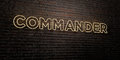 COMMANDER -Realistic Neon Sign on Brick Wall background - 3D rendered royalty free stock image