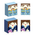 Commander secretary cartoon illustration Royalty Free Stock Photo