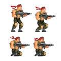 Commando Crouching Game Sprite