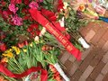 Commemoration day and liberation day flowers and ribbon in amsterdam bundles of a are placed on the ground the netherlands Royalty Free Stock Photography