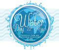 Commemorative Button with Water Around It for World Water Day, Vector Illustration