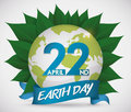 Commemorative Design for Earth Day with Globe over Leaves, Vector Illustration Royalty Free Stock Photo