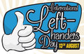 Commemorative Design for International Left-handers Day with Thumb-up Gesture, Vector Illustration