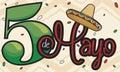 Commemorative Design with Sombrero for Mexican Cinco de Mayo Celebration, Vector Illustration
