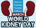 Commemorative Design for World Kidney Day Celebration, Vector Illustration