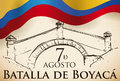 Commemorative Hand Drawn Boyaca Bridge over Scroll and Colombian Flag, Vector Illustration