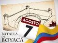 Commemorative Hand Drawn Boyaca`s Bridge Landmark, Calendar and Colombian Flag, Vector Illustration
