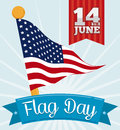 Commemorative pennant in flagpole and ribbon with flag day greeting vector illustration american design a golden waving behind a Royalty Free Stock Image