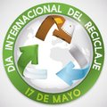Button with Globe and Recycling Arrows for Spanish Recycling Day, Vector Illustration