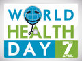 Commemorative World Health Day Card with Stethoscope, Vector Illustration