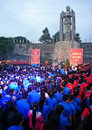Commenorate heroic vietnam martyr cemetery ho chi minh city july crowd of people standing under statue in july event ceremony to Royalty Free Stock Photos