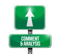Comment and analysis road sign illustration design over a white background Stock Image