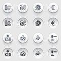 Commerce icons on white buttons set vector for websites guides booklets Stock Images