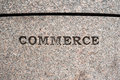 Commerce sign etched in granite Stock Photo