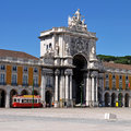 Commerce square famous also known as terreiro do paco in lisbon portugal Royalty Free Stock Photos
